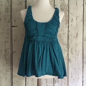 *Ric Rac* Anthropologie teal Rouched layered tank